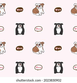 Seamless Pattern with Cartoon Bulldog and Heart Design on Light Pink Background