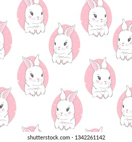 Seamless pattern with cartoon bunnies for kids. Vector, illustration, cute animals.