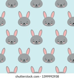 Seamless pattern with cartoon bunnies for kids. Abstract art print. background with cute animals. Vector illustration