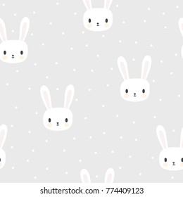 Seamless pattern with cartoon bunnies for kids. Abstract art print. Hand drawn background with cute animals. Vector illustration