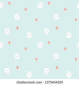 Seamless Pattern with Cartoon Bunny Face and Carrot Design on Pastel Green Background