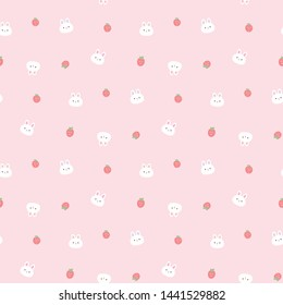 Seamless Pattern with Cartoon Bunny Face and Strawberry Design on Pink Background