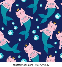 seamless pattern with a cartoon cat mermaid and bubbles. Pattern for textiles, fabrics, clothes, backpack, wrapping paper, web, children