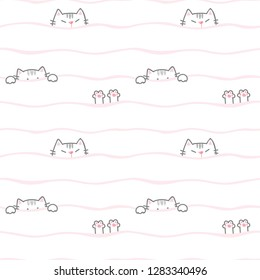 Seamless Pattern of Cartoon Cat and Paw Drawing on White Background with Pink Wavy Lines