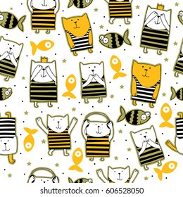Seamless pattern of cartoon cats. cute little kitten isolated on white background