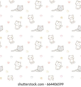 Seamless Pattern of Cartoon Cats and Paws on White Background