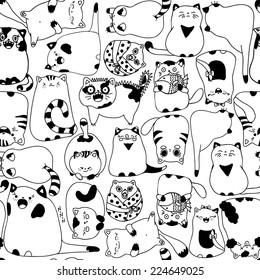 Seamless pattern with cartoon cats. Vector illustration.