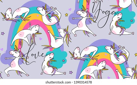 Seamless pattern. Cartoon character Little white Unicorn on a rainbow background. Practicing Yoga. Healthy Lifestyle. Textile composition, hand drawn style print. Vector illustration.