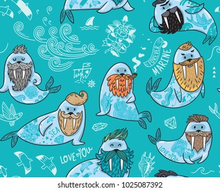 Seamless pattern with cartoon characters of funny walruses with different haircuts, beards and tattoos. Vector illustration in blue colors
