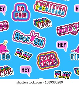 "Seamless pattern with cartoon, comic style word patches ""Whatever"", ""Ka-pow"""", ""Hey"", ""Good vibes"", etc. Bright blue background."