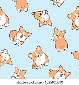 Seamless Pattern with Cartoon Corgi Dog Design on Light Blue Background
