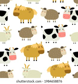 Seamless pattern with cartoon cow, goat, sheep, horse. Farm. Flat colorful vector for kids. hand drawing. animals. baby design for fabric, textile, wrapper, print.