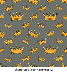 Seamless pattern with cartoon crown