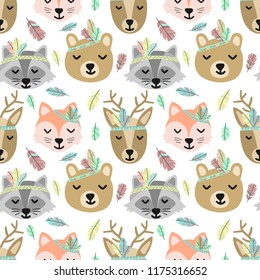 Seamless pattern of cartoon cute animals and feathers in Boho style. Hand-drawn illustration with the image of deer, fox, raccoon, and bear for use to print, background, wrapping paper, greeting card.