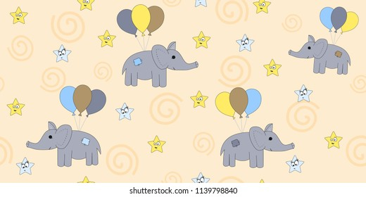 Seamless pattern with cartoon elephants flying on balloons. Vector illustration of a cartoon elephant. Print the child.