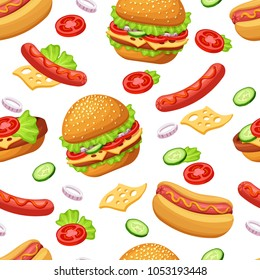 Seamless pattern with cartoon fast food. Hamburger and Hot Dog on white background. Vector illustration.