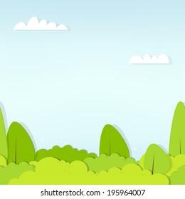 seamless pattern cartoon flat forest. Paper cut vector image