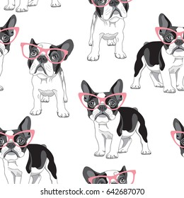Seamless pattern with cartoon French Bulldog in a pink glasses on a white background. Vector illustration.