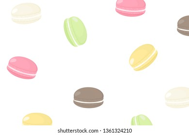 Seamless pattern with cartoon french macaroons. Background with tasty and sweet cockie for menu design