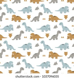 seamless pattern with cartoon fun dinosaurs and triangle figures, cute background