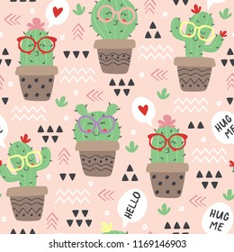 seamless pattern with cartoon funny cactus in glasses  - vector illustration, eps