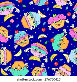 Seamless pattern with cartoon funny cakes.