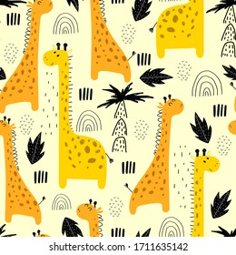 seamless pattern with cartoon giraffes, rainbows, palm trees, decor elements on a neutral background. Colorful vector flat style for kids. animal theme. hand drawing. baby design for fabric, print, wr