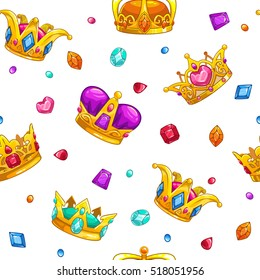 Seamless pattern with cartoon golden king crowns and colorful gemstones on white background. Vector texture tile.