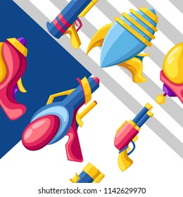 Seamless pattern. Cartoon gun collection. Flat vector colorful toys. Space laser guns design. Vector illustration on abstract background.