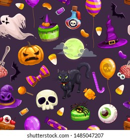 Seamless pattern with cartoon Halloween attributes. Colorful Helloween print with scary holiday items. Vector Spooky texture.