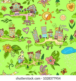 Seamless pattern with cartoon island town and floral hand drawn ornaments.