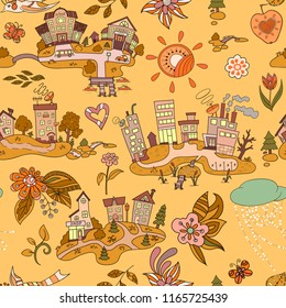 Seamless pattern with cartoon island town. Hand drawn ornaments. Decorative sketch of cartoon city.