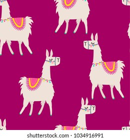 Seamless pattern with a cartoon llama. Background for wrapping paper, rucksack, clothes, fabric, textiles, wallpaper, socks, web, cards.