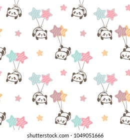 Seamless Pattern of Cartoon Panda, Balloon and Star Design on White Background