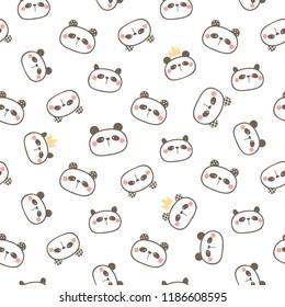 Seamless Pattern of Cartoon Panda Face Design on White Background