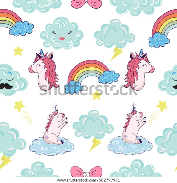 Seamless pattern with cartoon patch badges with cloud,unicorns,rainbows,lightning.For t-shirt or other uses.Retro style 80s-90s.Pop art style.