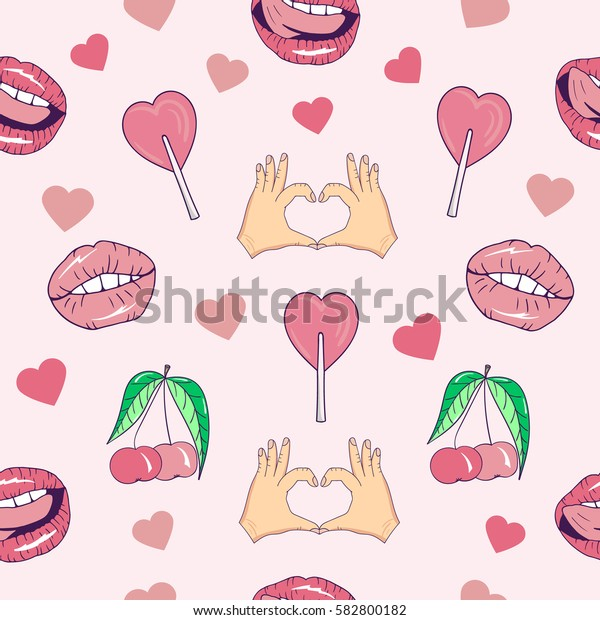 Seamless pattern with cartoon patch badges with lips,hands,candy,cherry,hearts.For t-shirt or other uses.Retro style 80s-90s.Pop art style.