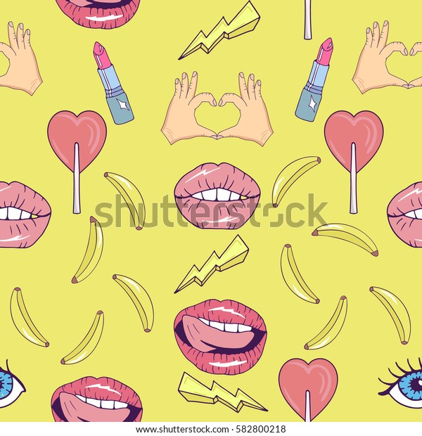 Seamless pattern with cartoon patch badges with lips,banana,hands,lipstick,candy,eyes,lightning.For t-shirt or other uses.Retro style 80s-90s.Pop art style.