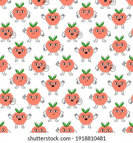 Seamless pattern with cartoon peaches in different poses with funny face. Creative print for apparel, decoration, packaging, wrapping paper etc. Colorful vector illustration.