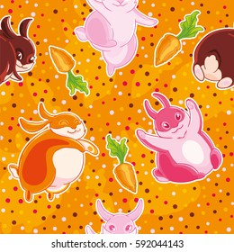 Seamless pattern with cartoon pretty rabbits and carrots on cofetti background. Fabric design, Wallpaper, kids decor.