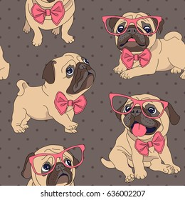 Seamless pattern with cartoon pug puppy in a glasses and in a bow-tie. Vector illustration.