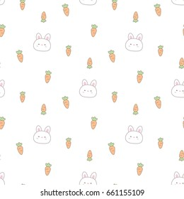 Seamless Pattern of Cartoon Rabbit and Carrot Design on White Background