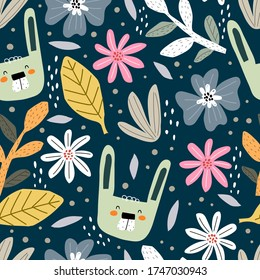 Seamless pattern with cartoon rabbit, flowers, decor elements on a neutral background. summer colorful vector for kids. hand drawing, flat style. Baby design for fabric, print, textile, wrapper