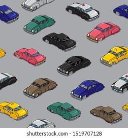 Seamless pattern with cartoon retro cars in traffic jam.