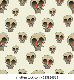 Seamless pattern with cartoon scull on beige background