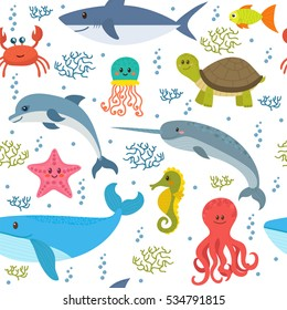 Seamless pattern with cartoon sea life animals. Underwater background. Vector illustration