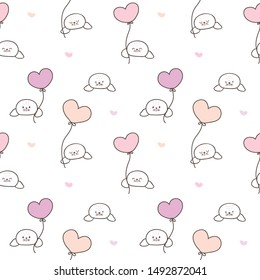 Seamless Pattern of Cartoon Seal with Balloon Design on White Background with Hearts