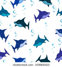 Seamless pattern cartoon shark on a white background. Sharks for toddlers, kids and families. Vector illustration