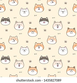 Seamless Pattern of Cartoon Shiba Inu Face Design on Yellow Background