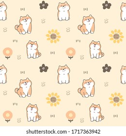 Seamless Pattern of Cartoon Shiba Inu Dogs on Light Yellow Background with Flowers and Paws